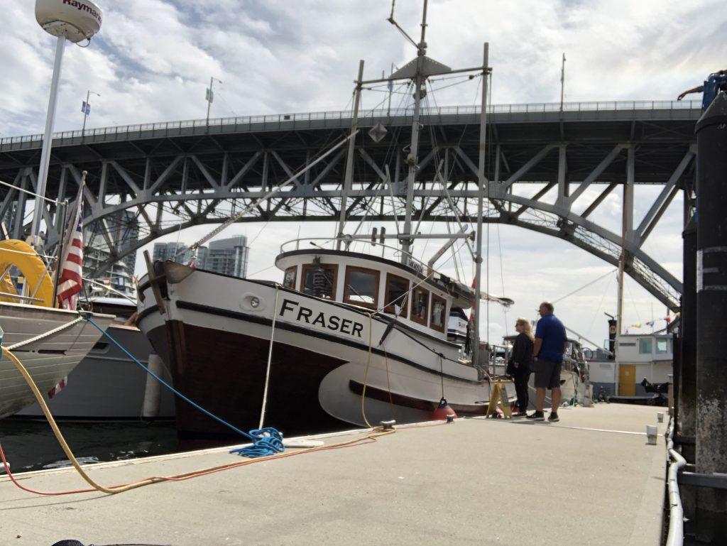 Fraser wooden fishing boat granville bridge vancouver