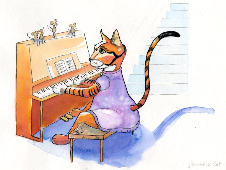 Cat Entertainer at the Piano