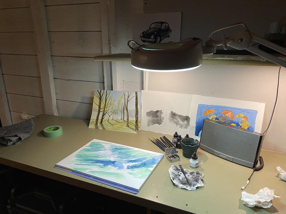 Jessica Salvador art studio inking station